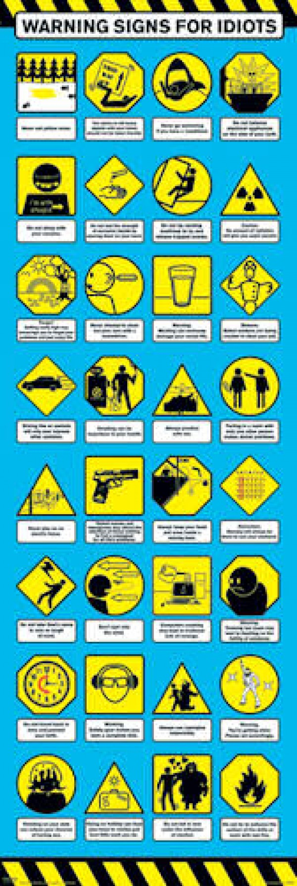 Warning Signs For Idiots Door Poster