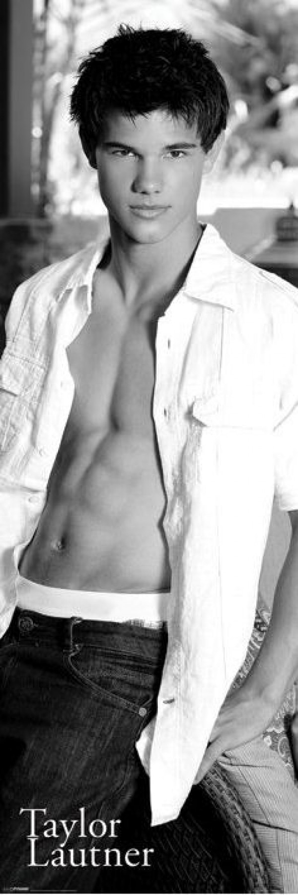 Taylor Lautner Six Pack door poster featuring the Twilight star with open white shirt and bare chest