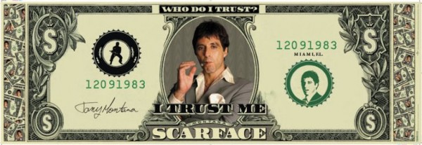 Scarface Dollar Bill Door Poster