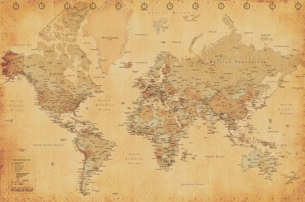 World Map Poster - Vintage Style