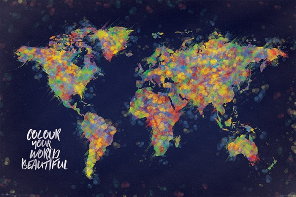 Colour Your World Beautiful (World Map) Poster