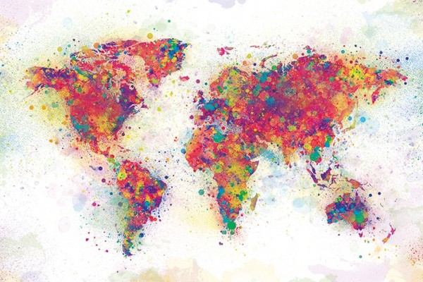 World Map (Colour Spash) Poster