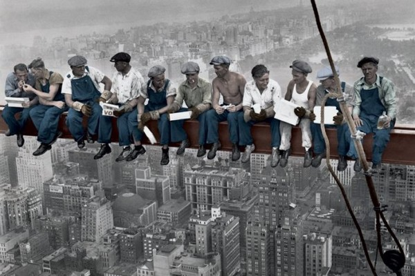 New York Lunch On Skyscraper Colour Poster