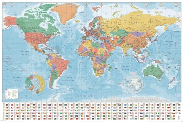 World Map (Flags and Facts) Poster
