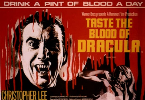 Taste The Blood Of Dracula poster featuring Christopher Lee in the Hammer Horror film.