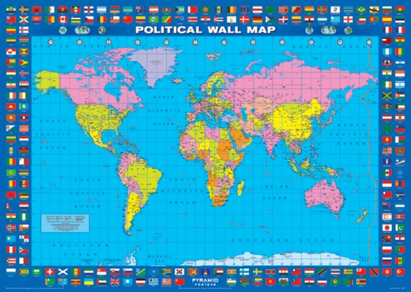 Map posters political world map poster pp0467 panic posters world map flags poster gumiabroncs Gallery