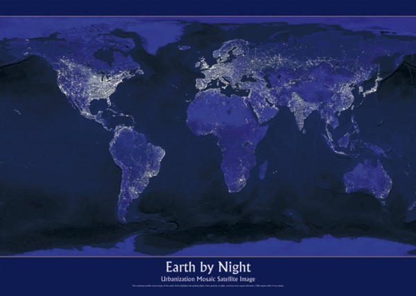 Earth By Night Map Poster