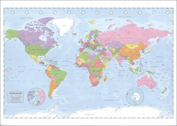 Political World Map (Miller Projection) Giant Poster