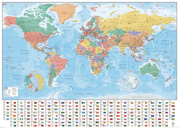 World Map (Flags and Facts) Giant Poster
