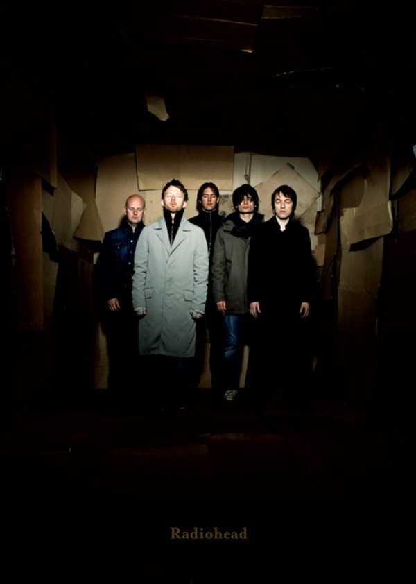 Radiohead poster featuring a colour photo of the band