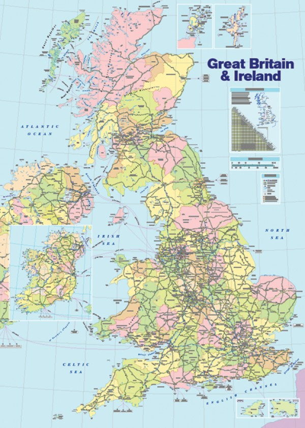 Great Britain & Ireland Map Poster