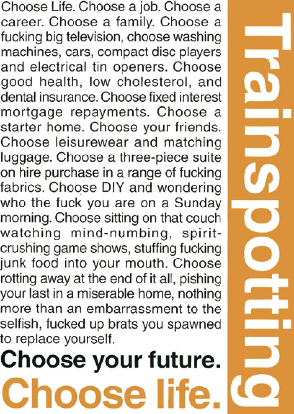 Trainspotting Choose Life Poster
