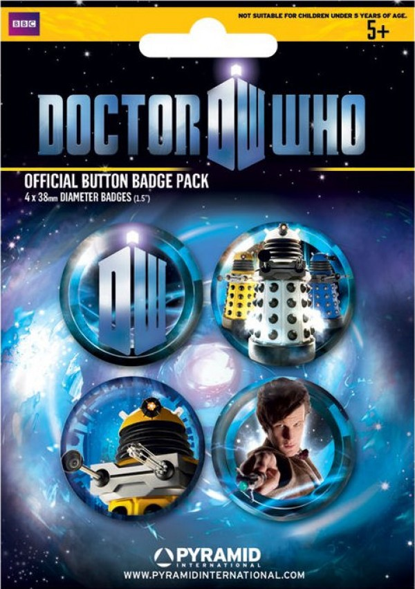 Doctor Who badge pack with Matt Smith and Dalek badges