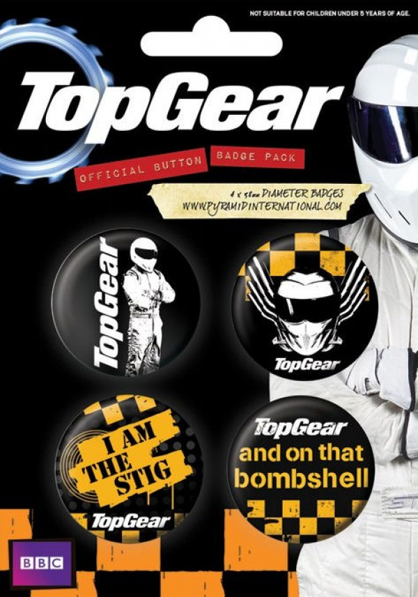Top Gear badge pack with four badges, including designs of The Stig