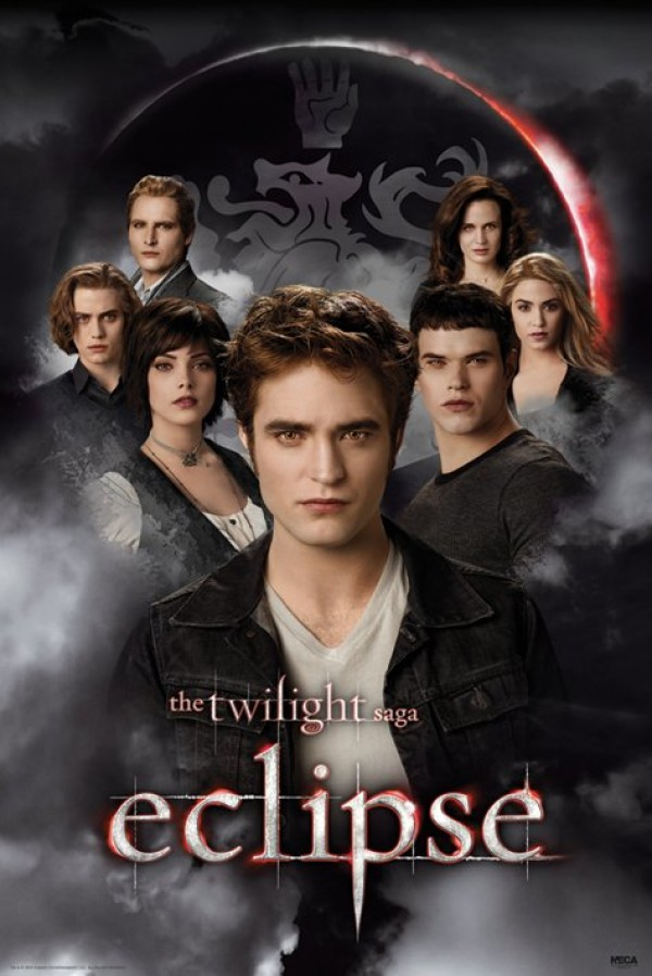 Twilighlight Eclipse poster featuring Robert pattinson as Edward along with the rest of the Cullen clan.