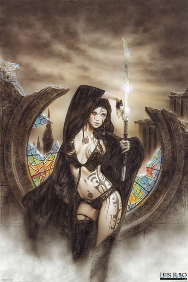 Luis Royo Stained fantasy art poster