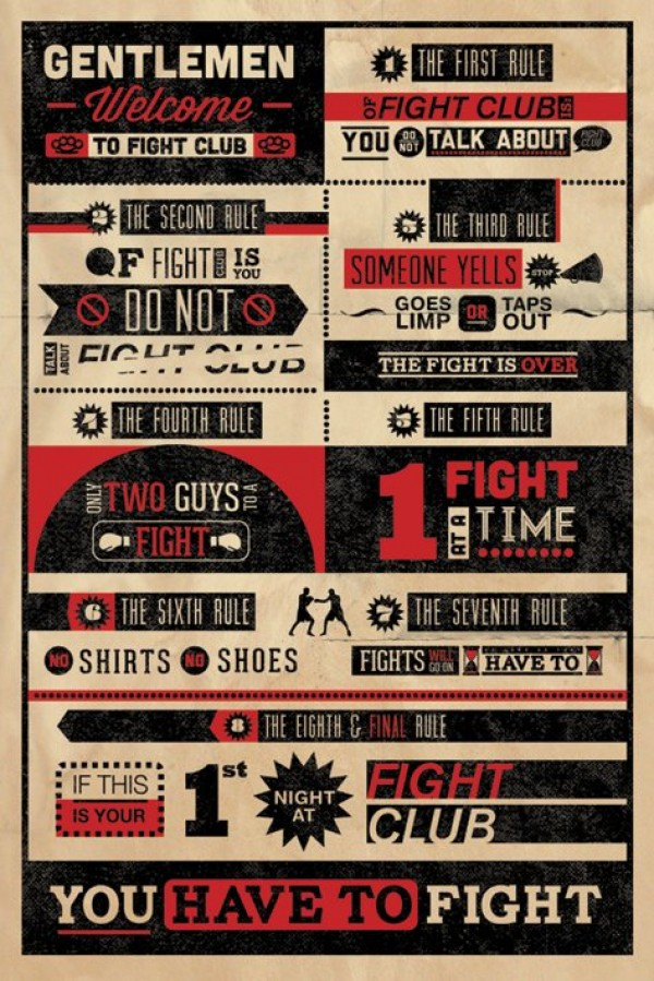fight club poster fight club rules poster pp32912 panic posters. Black Bedroom Furniture Sets. Home Design Ideas