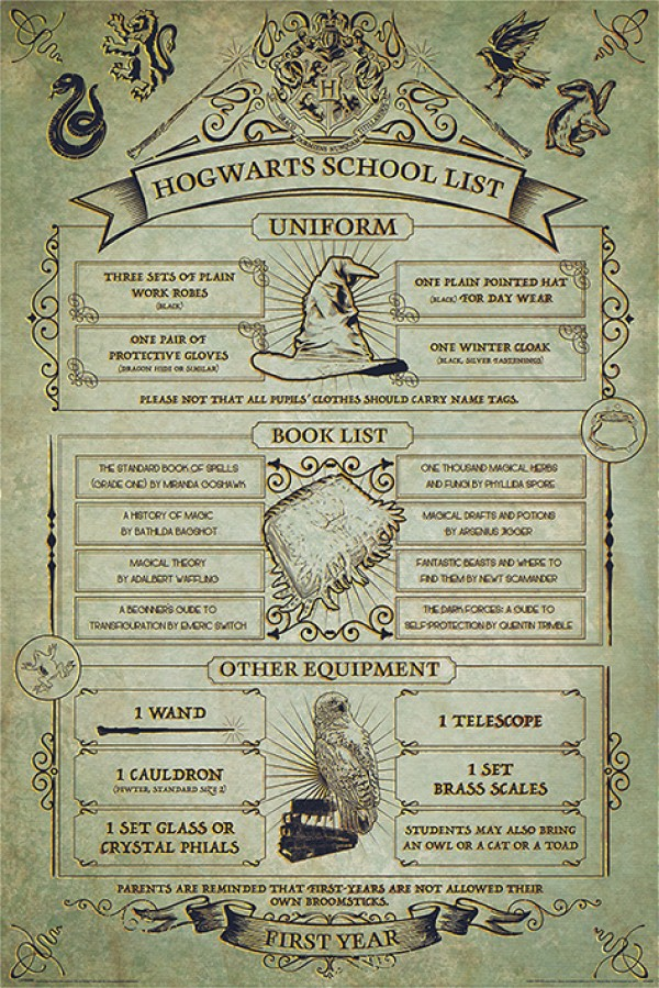 Harry Potter posters Harry Potter Hogwarts School List