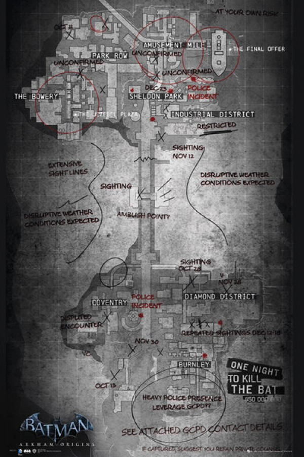 Batman Arkham Origins (Map) Poster