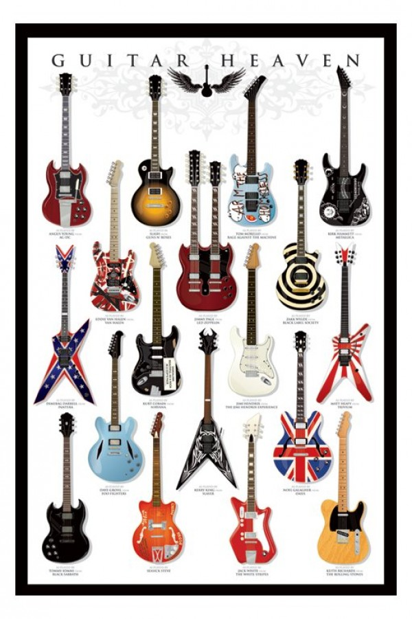 Guitar Heaven Poster Black Framed Ready To Hang Frame Free P/&P