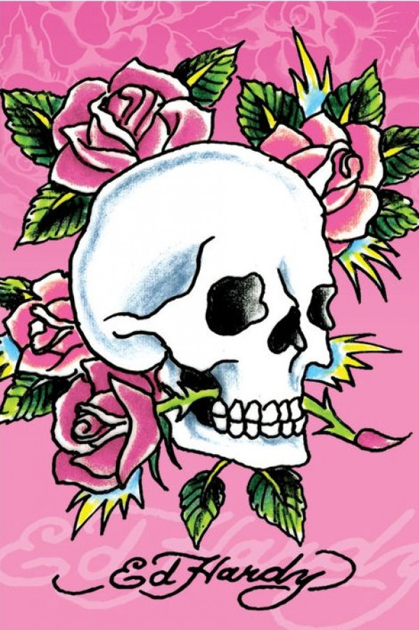 Ed Hardy Pink Skull & Roses Poster