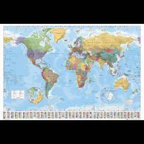 World Map (With Flags) Giant Poster