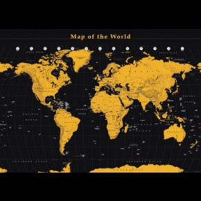 World Map (Gold) Giant Poster