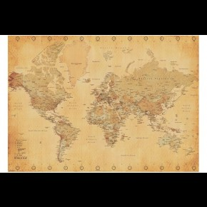 World Map (Vintage) Giant Poster