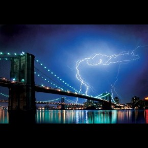 New York Brooklyn Bridge Lightning Poster