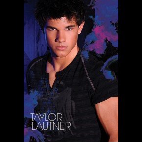 Taylor Lautner poster featuring the Twilight star against blue background