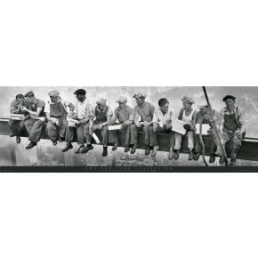 New York Men On Girder Door Poster