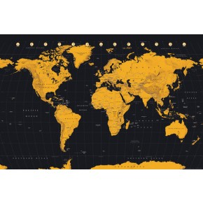 World Map (Gold) Poster