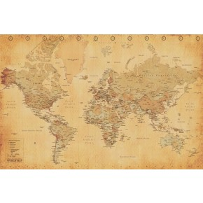 Vintage Style World Map Poster